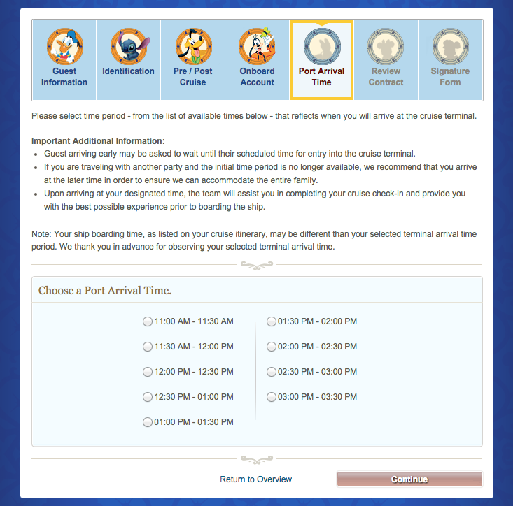 Disney Cruise Line Online CheckIn Sarah McClure Wishes Family - Cruise ship terms